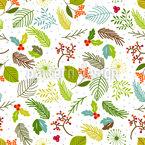 Blätter und Beerenzweige Nahtloses Vektormuster