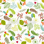 Leaves and Berry Branches Pattern Design