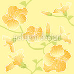 Sunny Hibiscus Seamless Vector Pattern Design