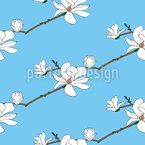 Blooming Magnolia Seamless Vector Pattern Design