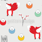 Hedgehog And Fox Pattern Design