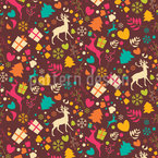 Merry Merry Reindeers Seamless Vector Pattern Design