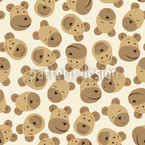 Mister Bear Beige Seamless Vector Pattern