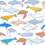 Suche Nach Meerestieren Nahtloses Vektormuster