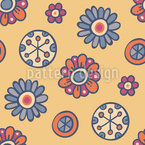 Comic Floret Seamless Vector Pattern Design