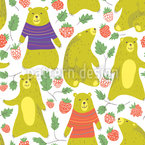 Bears Love Raspberry Seamless Pattern