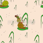 Musical Snails Seamless Vector Pattern Design