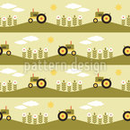 Tractor Trails Seamless Vector Pattern Design