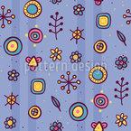 Garabatos Florales Y Rayas Estampado Vectorial Sin Costura
