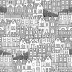 British Houses Seamless Vector Pattern