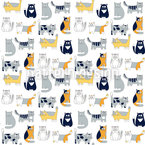 Cat Friends Seamless Vector Pattern Design