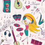 Girls Love Music Vector Design