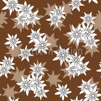 Edelweiss Marrón Estampado Vectorial Sin Costura