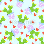 Cute Cacti Seamless Vector Pattern Design