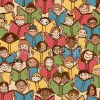 Kinder Lesen Buecher Nahtloses Vektormuster