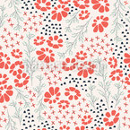 Spring Garden Flowers Seamless Vector Pattern Design