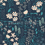 Spring Garden At Night Seamless Vector Pattern