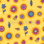 Floating Flowers Vector Pattern