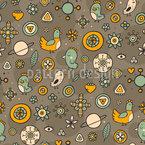 輪郭花と鳥 シームレスなベクトルパターン設計
