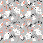 Bunnies In The Forest Seamless Vector Pattern Design
