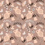 Autumn Bunnies Seamless Vector Pattern Design