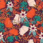 Autumn Flower Meadow Seamless Vector Pattern Design