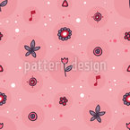 Flowers makes Music Vector Pattern