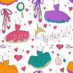 Tutu Dress and Accessories Seamless Vector Pattern Design