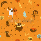 Skeleton and Monster Friends Seamless Vector Pattern Design
