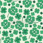 Lucky Clover on White Vector Pattern