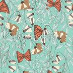 バタフラワー草原 シームレスなベクトルパターン設計
