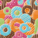 Donut Paradise Seamless Vector Pattern Design
