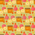 Kaffee und Äpfel Nahtloses Vektormuster