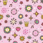 Mädchen Garten Traum Nahtloses Muster