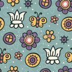 Butterfly Garden Dream Seamless Vector Pattern