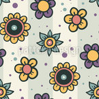 Floral Doodles On Stripes Seamless Pattern