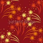 Red Fireworks Seamless Vector Pattern Design
