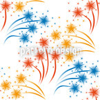 White Fireworks Seamless Vector Pattern Design