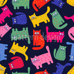 Rainbow Cats Seamless Vector Pattern Design