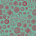 Birds And Flowers With Other Small Drawings Vector Pattern