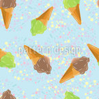 Ice Cream And Dots Seamless Vector Pattern Design