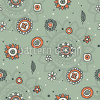 Cute Flowers And Leaves Seamless Vector Pattern Design