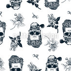 Gentleman Skulls Seamless Vector Pattern Design