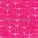 Heart Lanterns Seamless Vector Pattern Design