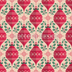 Christmas Tree Balls and Mistletoes Seamless Vector Pattern Design