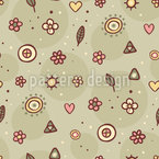 Sweet Flowers And Leaves Design Pattern