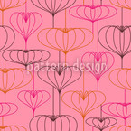 Delicate Heart Lanterns Seamless Vector Pattern Design