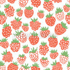 Cartoon Raspberries and  Strawberries Seamless Vector Pattern Design