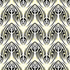 White Maori Seamless Vector Pattern Design