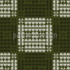 Checkered Horns and Leaves Seamless Pattern